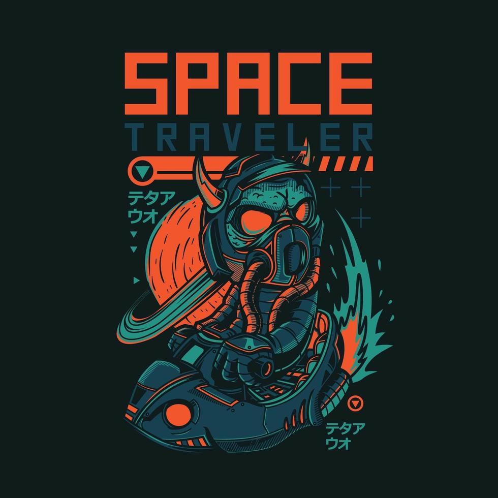 design de camiseta estilo japonês para viajante espacial vetor