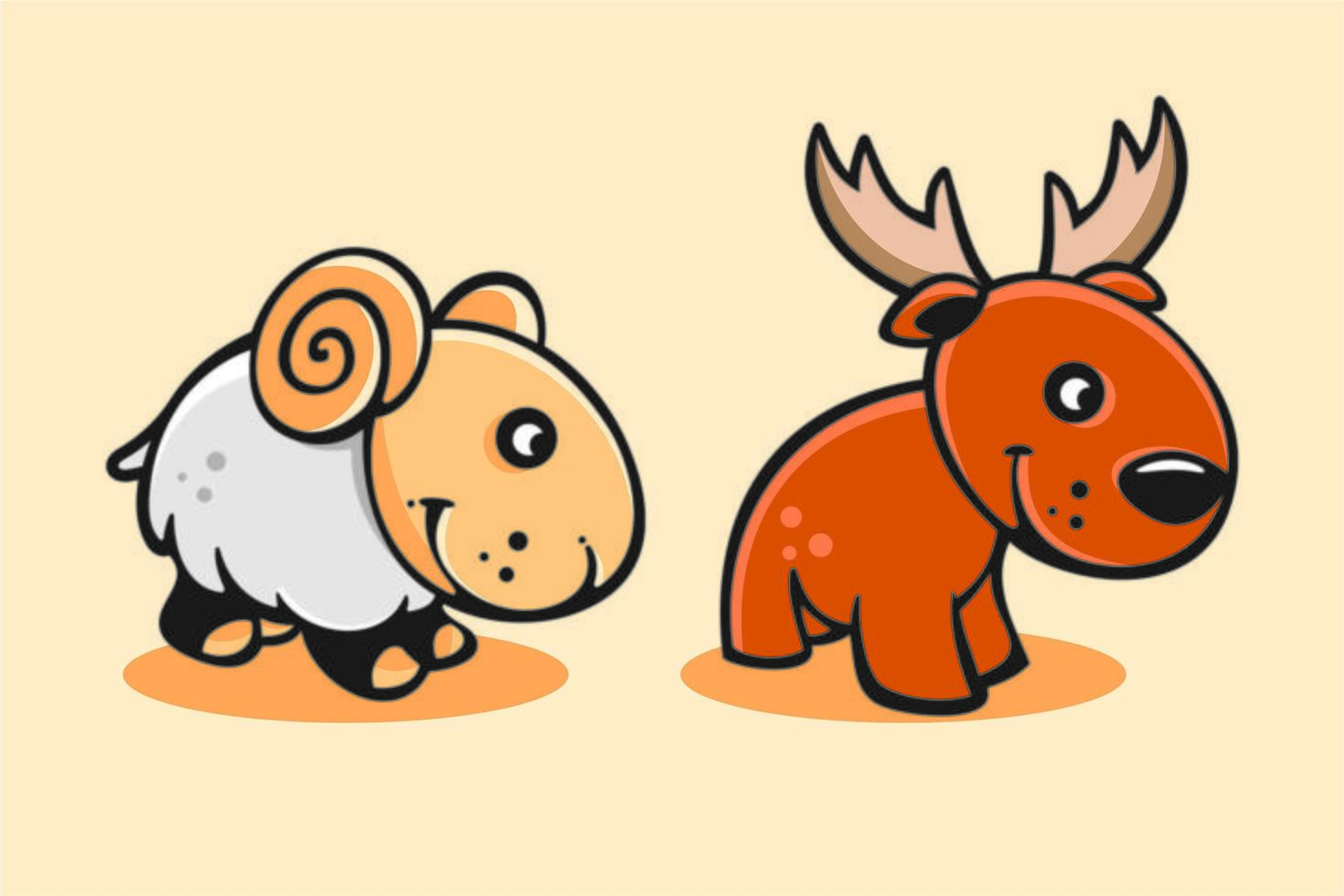 conjunto de bonito desenho animado bebê cabra e veado vetor