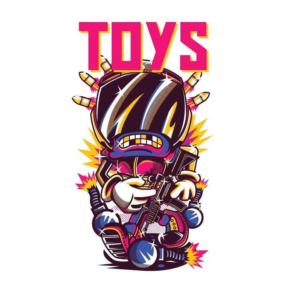 design de camiseta colorida de soldado de brinquedo vetor