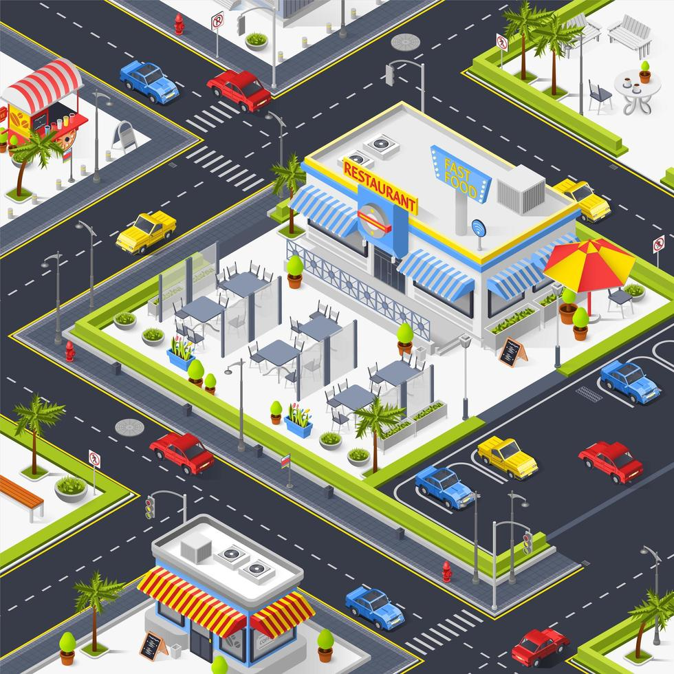vista isométrica de cima de uma cidade colorida vetor