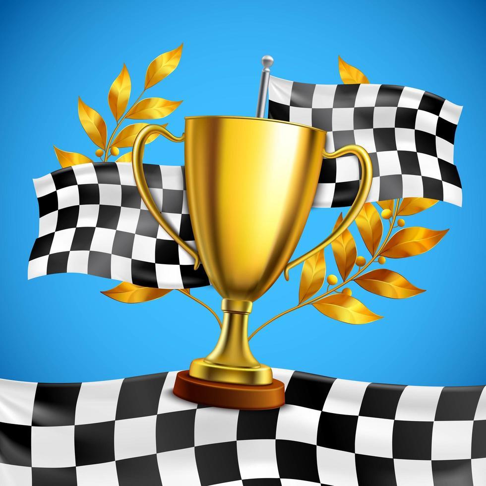troféu de ouro com bandeira quadriculada vetor