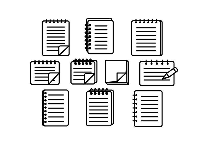 Caderno e bloco de notas do vetor