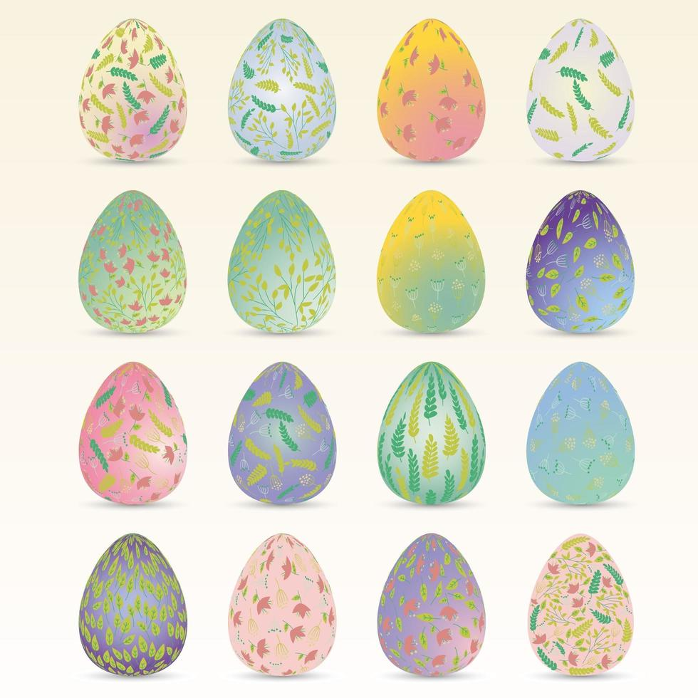 conjunto de ovo de páscoa floral colorido vetor
