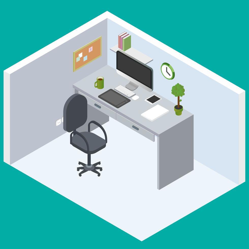 espaço de trabalho de escritório de design plano isométrico vetor