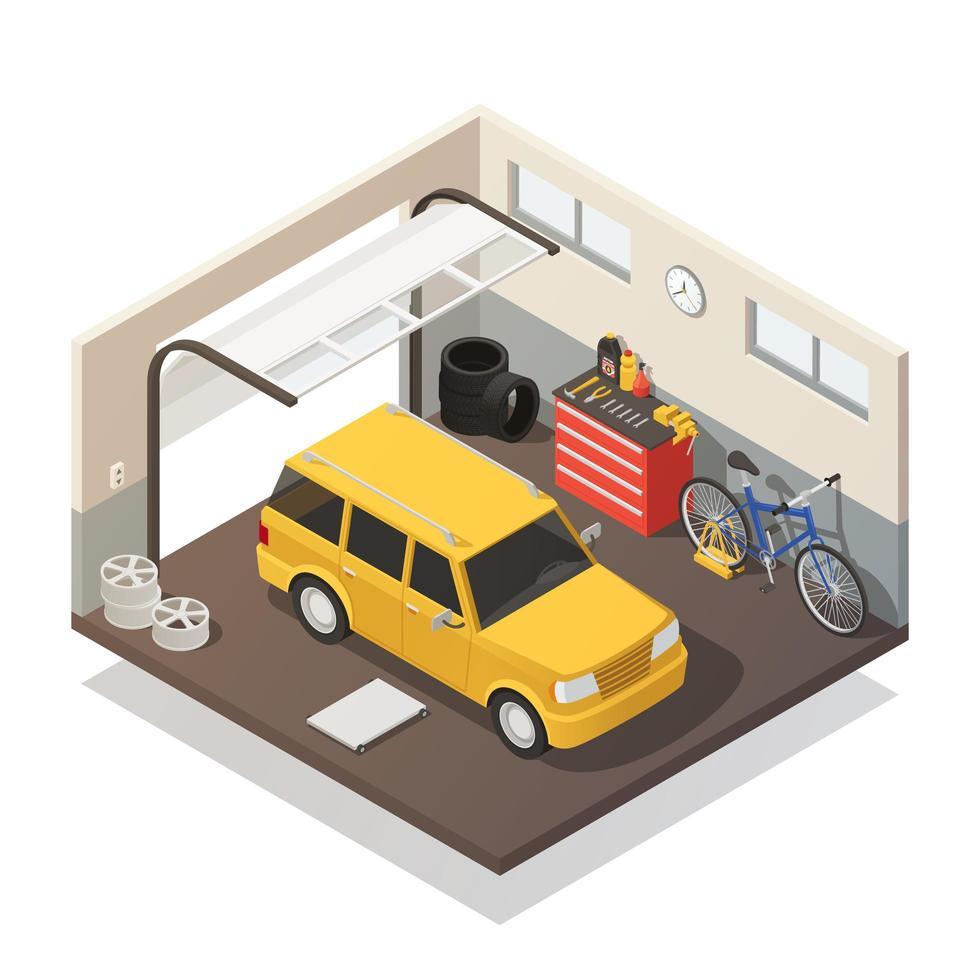 interior isométrico da garagem vetor