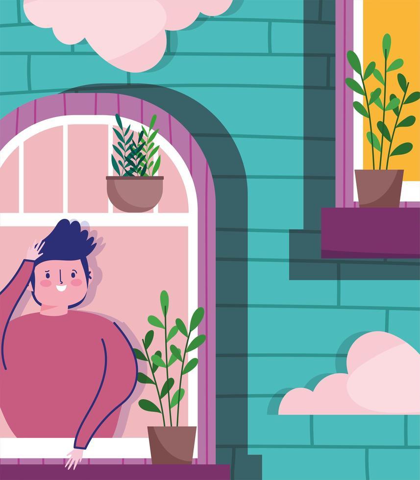 jovem olhando pela janela, o exterior do edifício vetor
