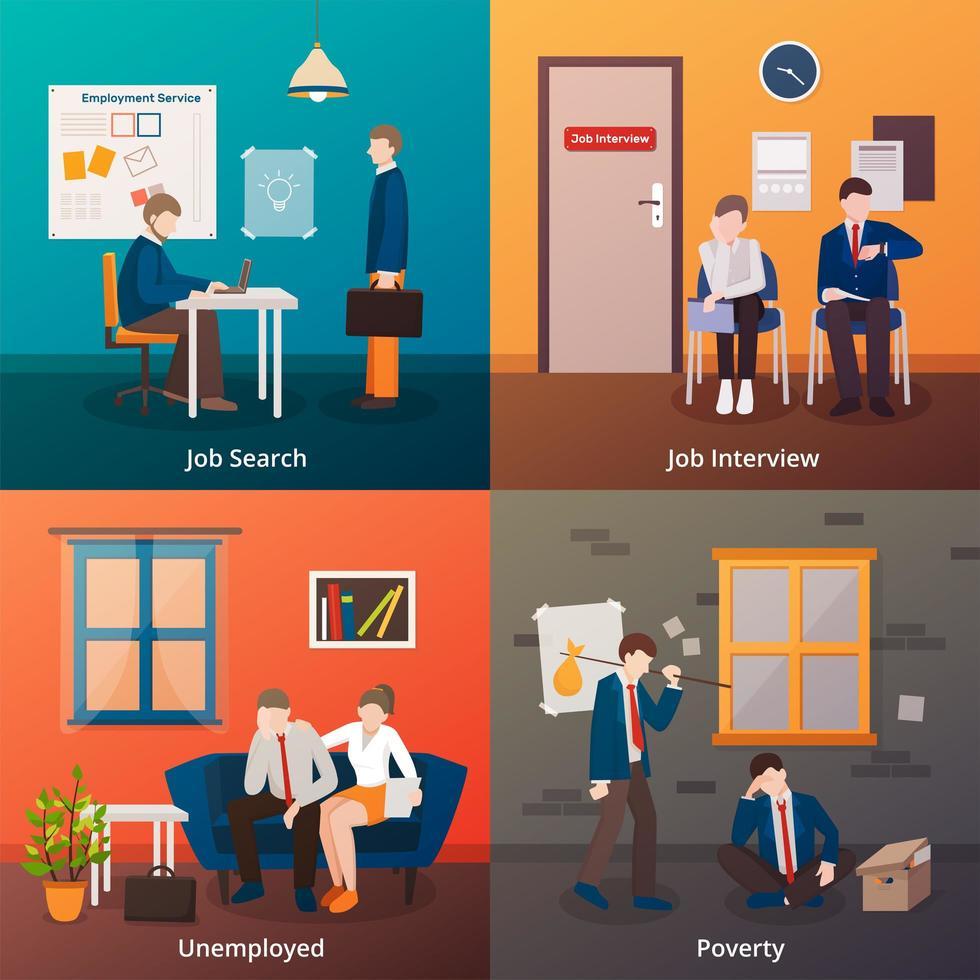 cenário de desemprego definido vetor