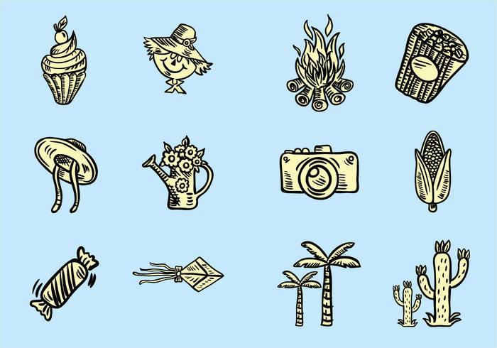 Conjunto de ícones Festa Junina vetor