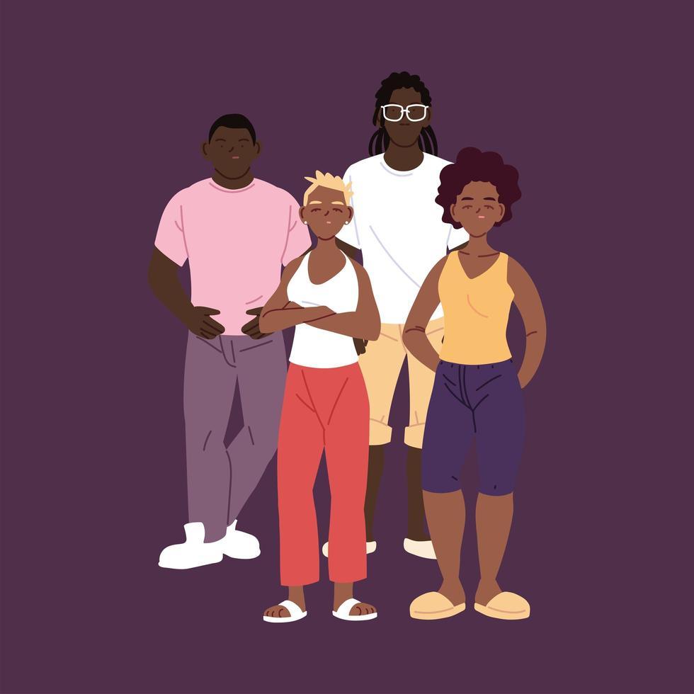 pessoas de cor, meninos e meninas, desenhos animados vetor