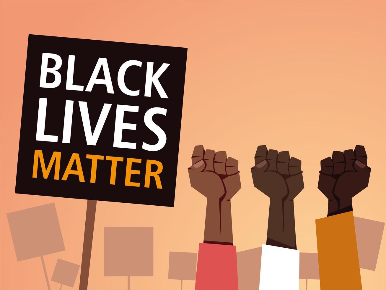 vidas negras importam em banner com punhos vetor