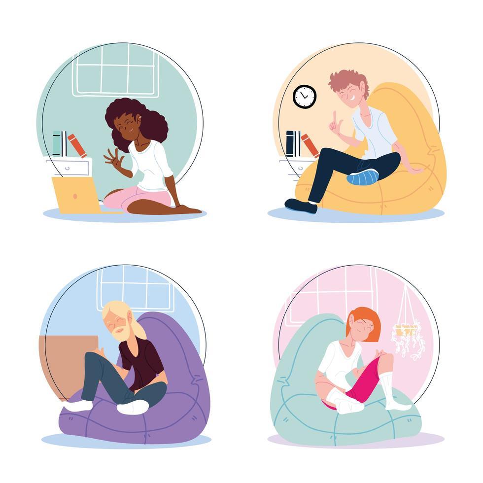 conjunto de ícones de pessoas que trabalham em casa vetor