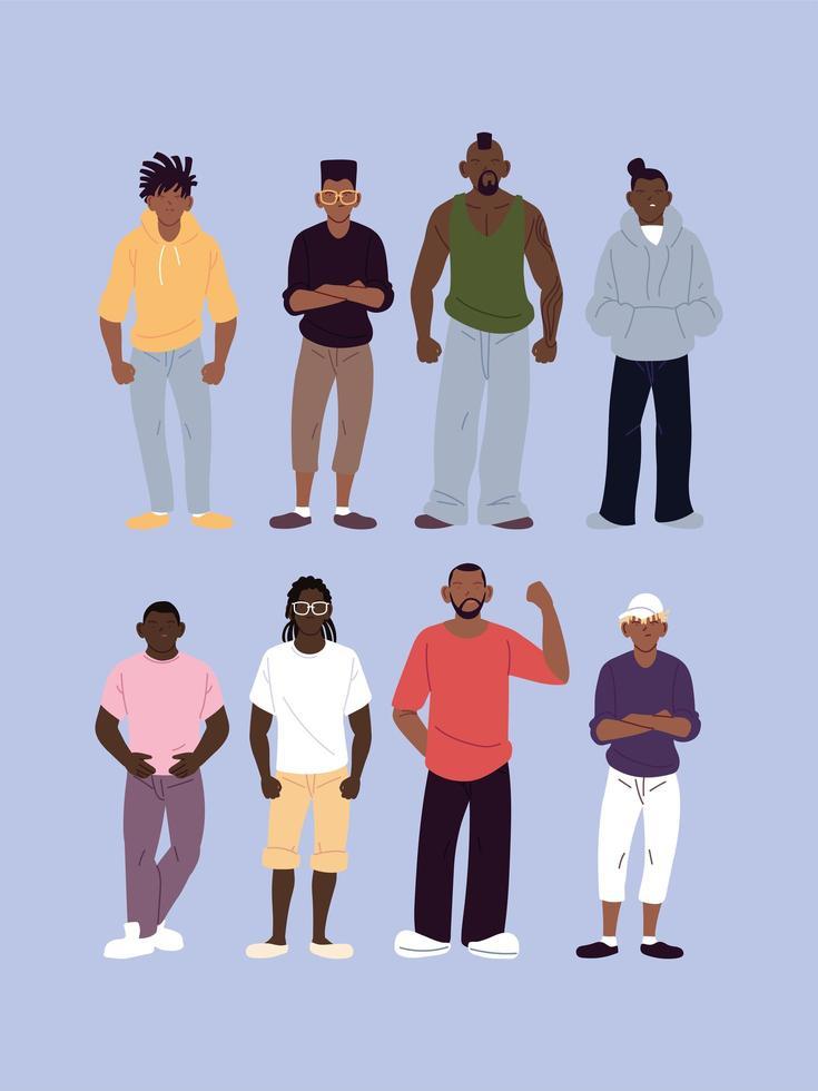 conjunto de homens negros com estilo urbano vetor