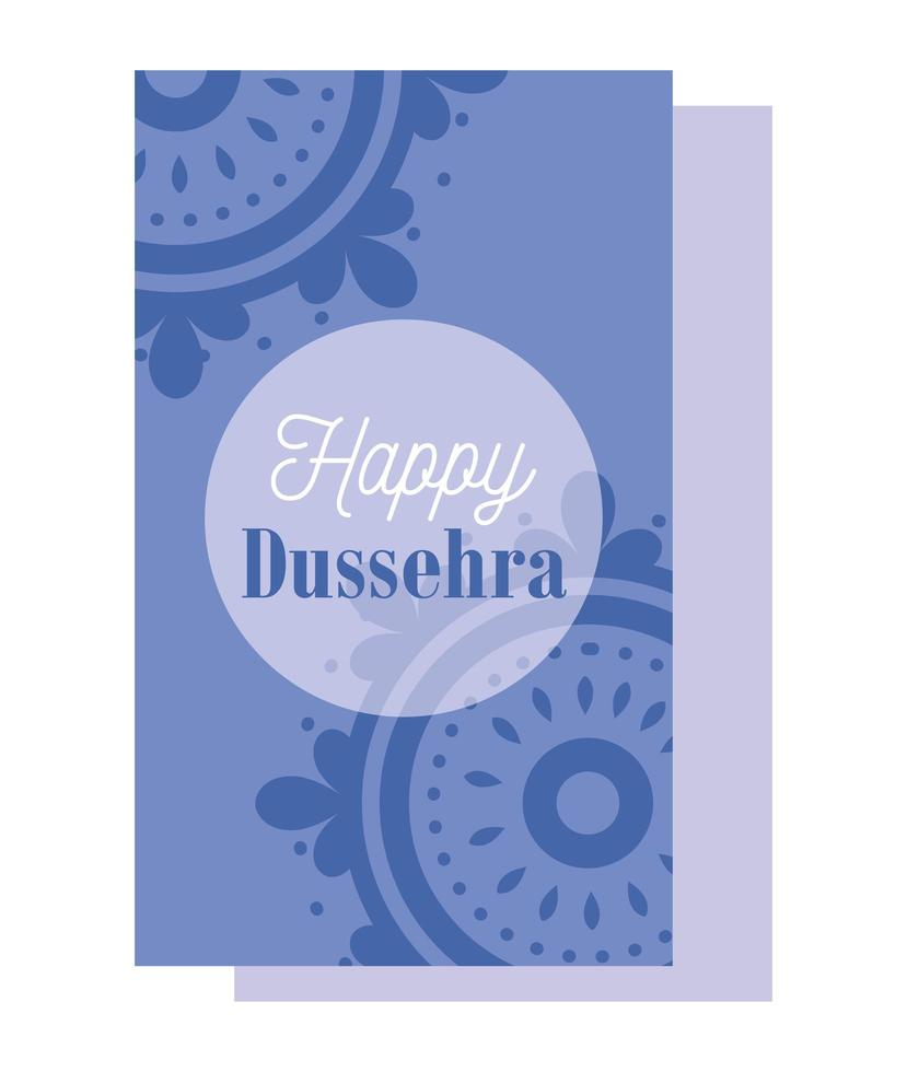feliz festival dussehra da índia mandalas vetor