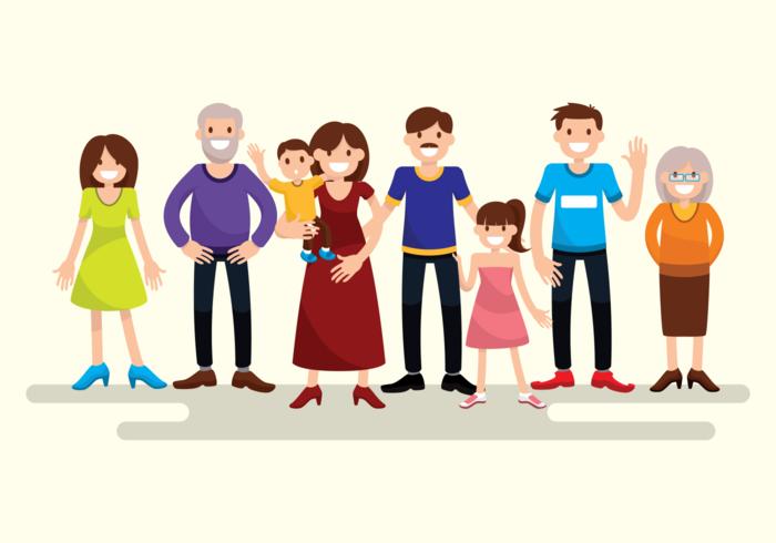 Big Familia Retrato vetor