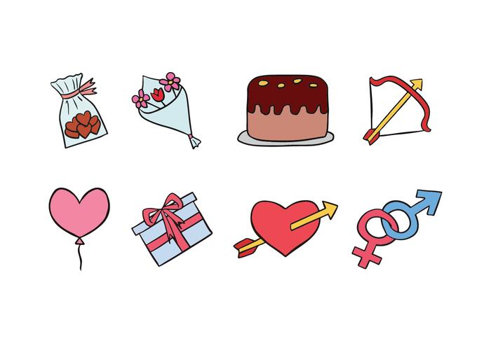 Ícones do Doodle Valentine vetor