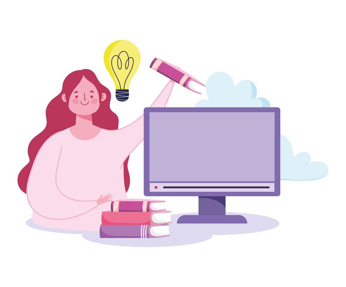 conceito de educação online com mulher e computador vetor