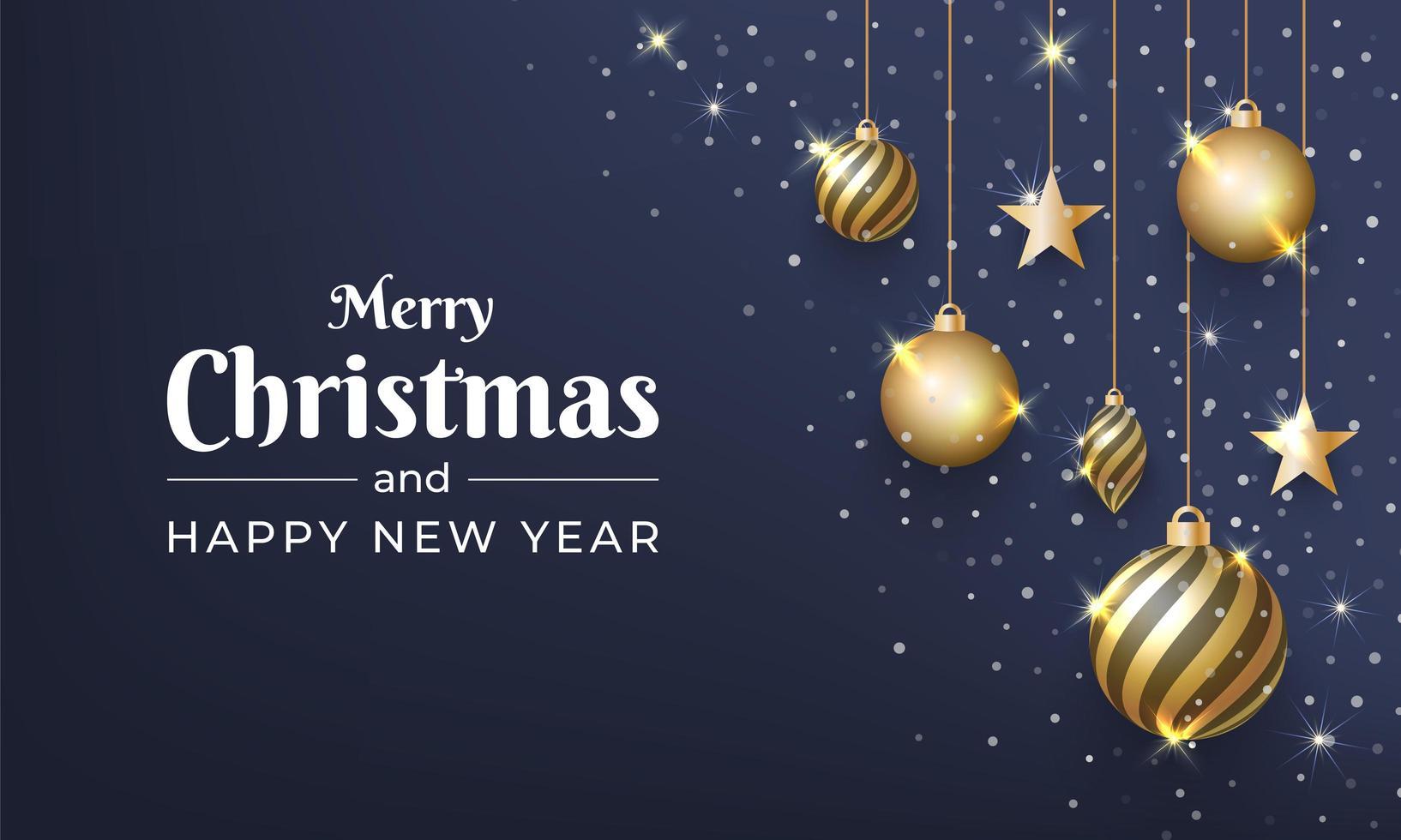 feliz natal com enfeite de bola de ouro brilhante vetor