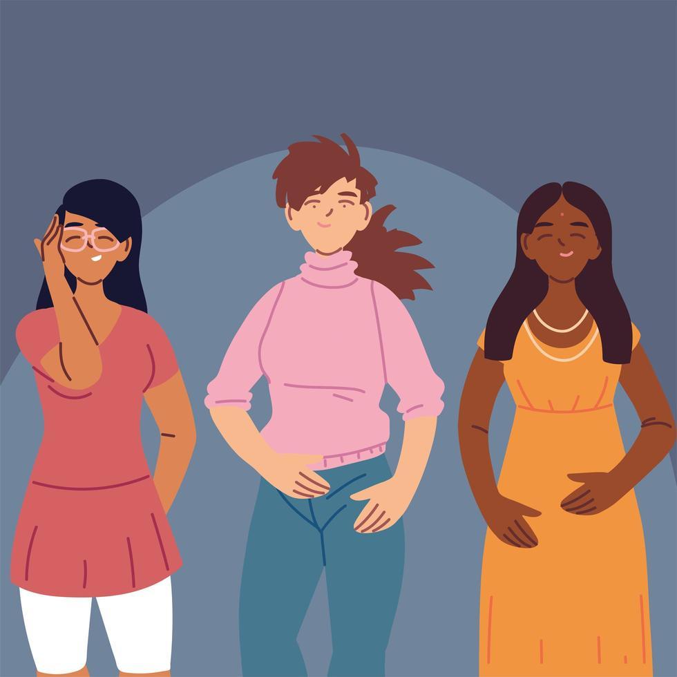 mulheres multirraciais em roupas casuais vetor