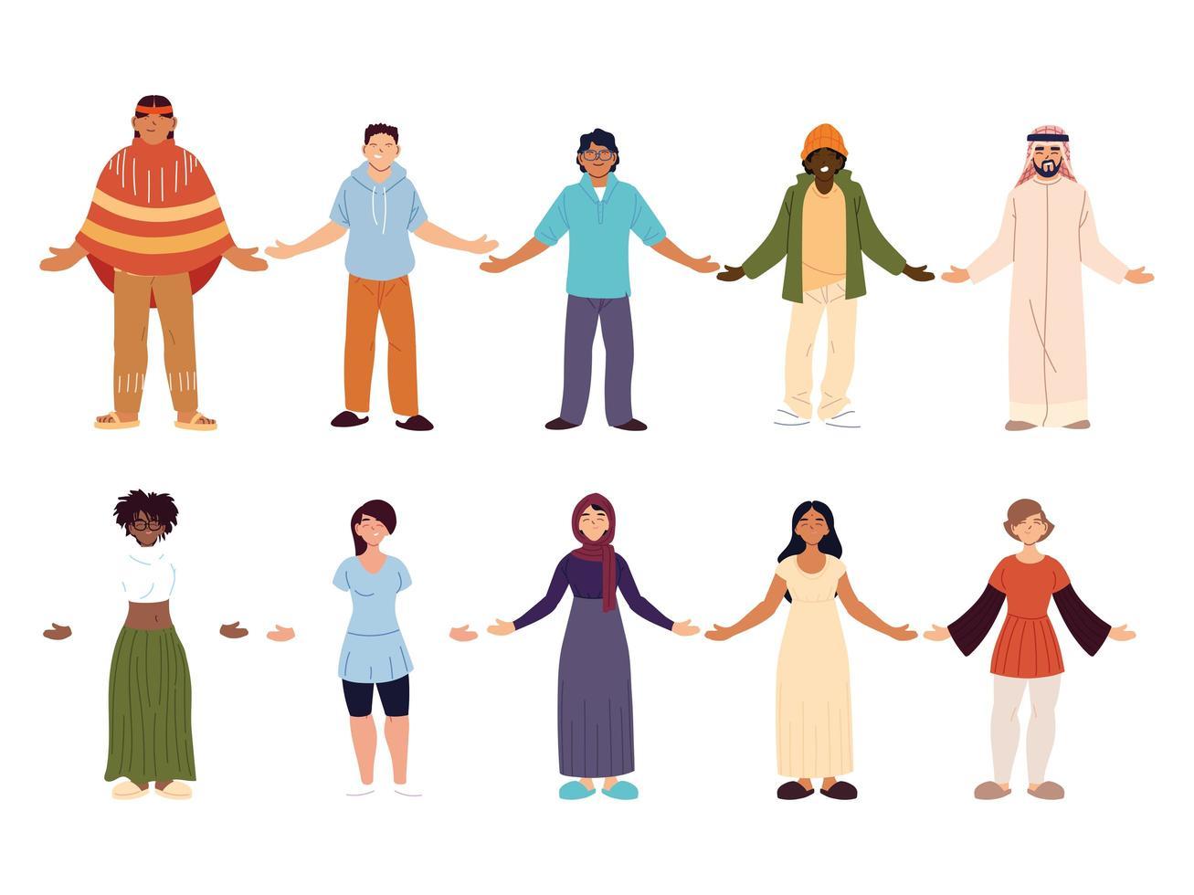 conjunto de diversos homens e mulheres juntos vetor