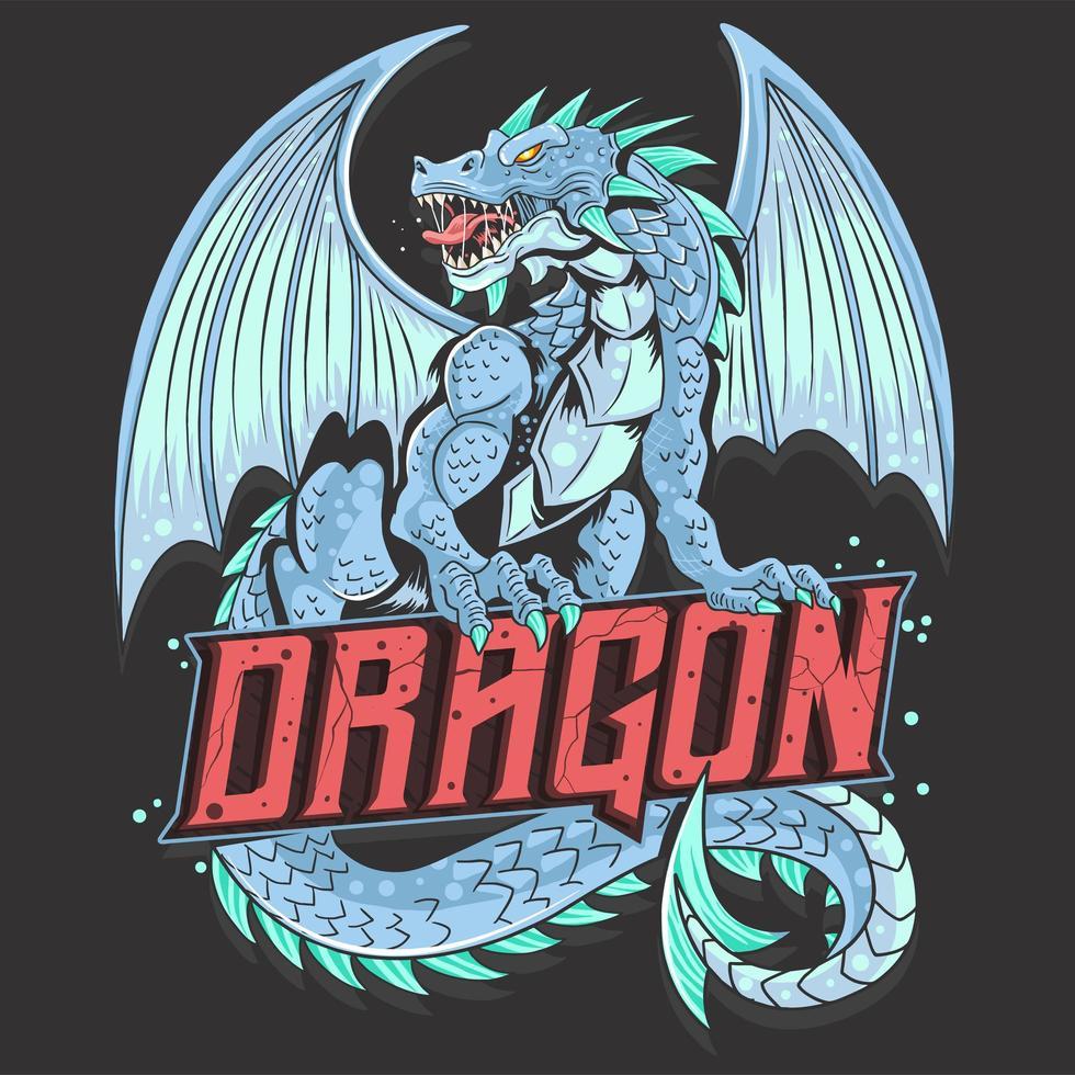 dragão de corpo inteiro com texto vetor