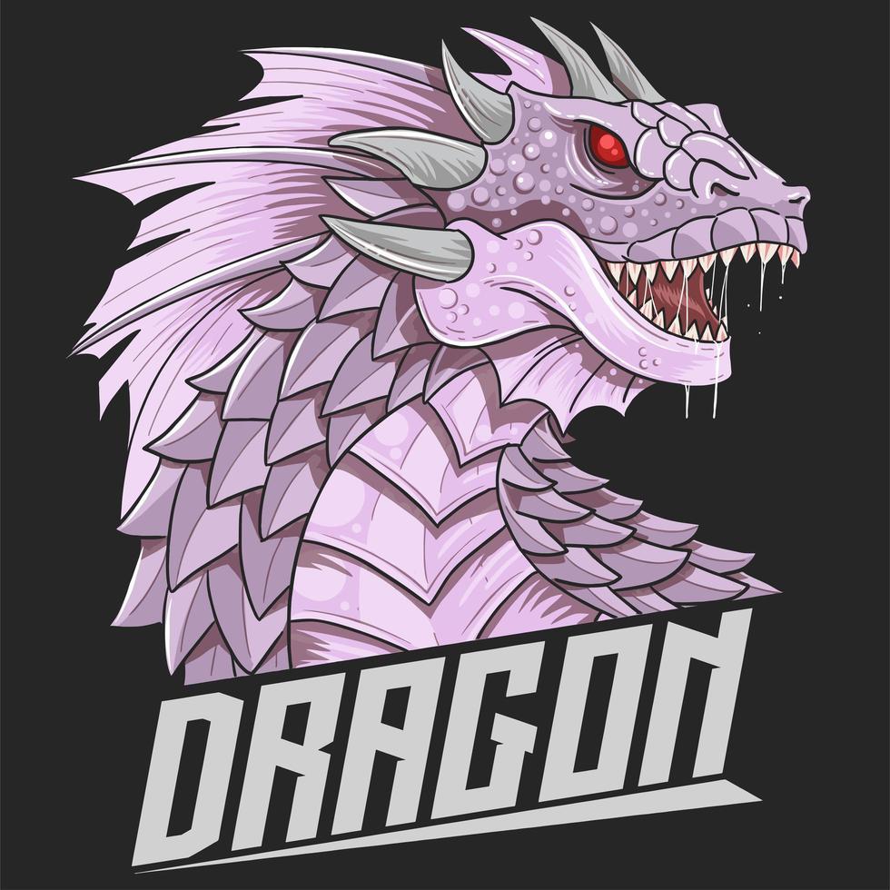 cabeça de dragão em roxo vetor