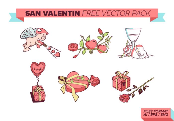 San Valentin gratuito Pacote Vector