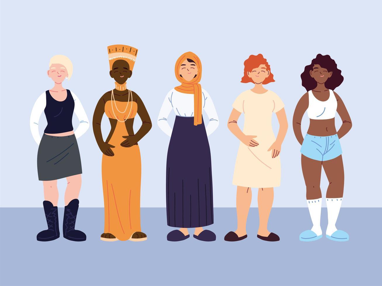grupo diverso de mulheres vetor