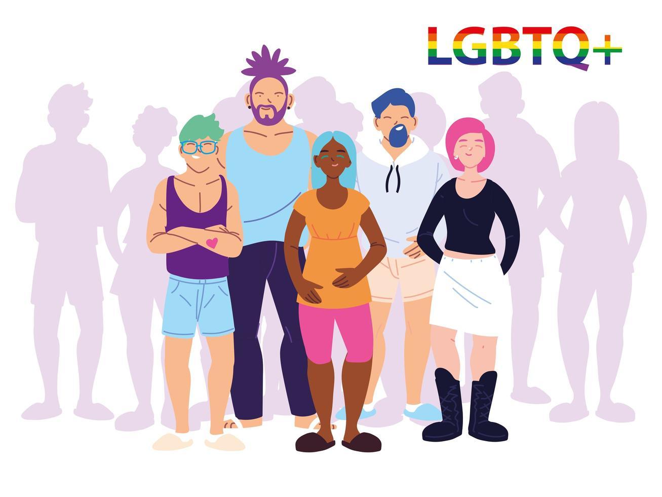 grupo de pessoas com símbolo de orgulho gay LGBT vetor