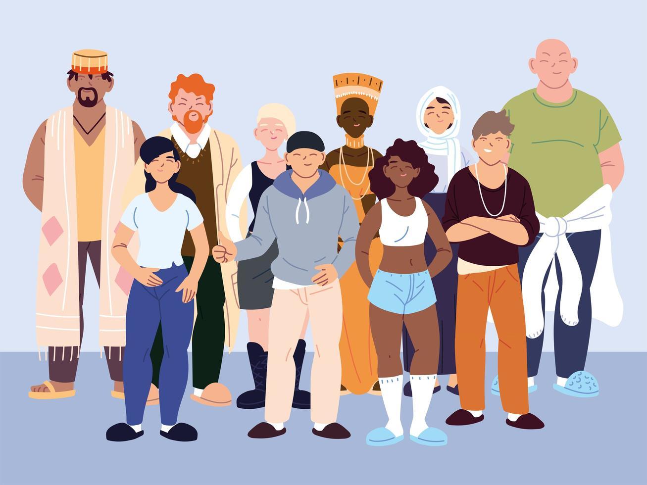 grupo de pessoas multiculturais em roupas casuais em pé vetor