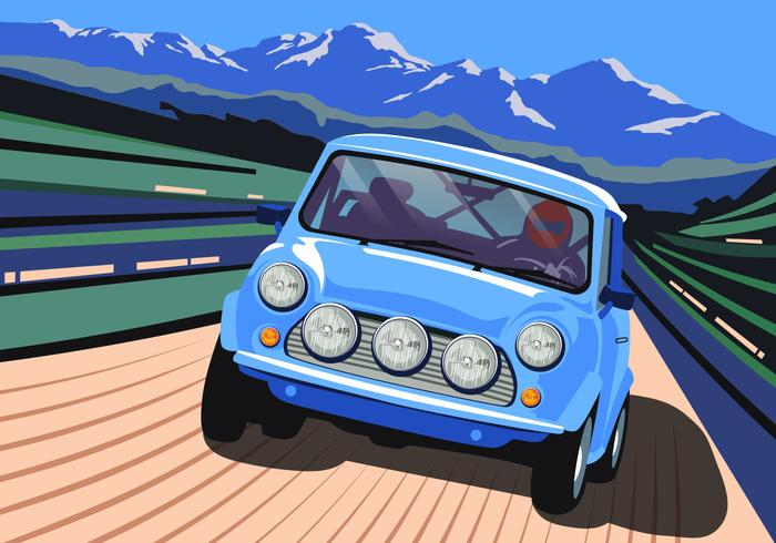 Carro do estilo Europeu Condução através Montanhas Vector