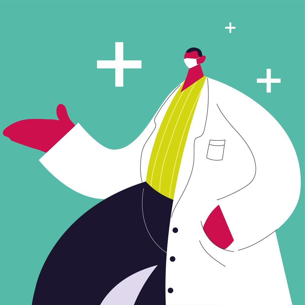 médico masculino em pé. equipe médica vetor