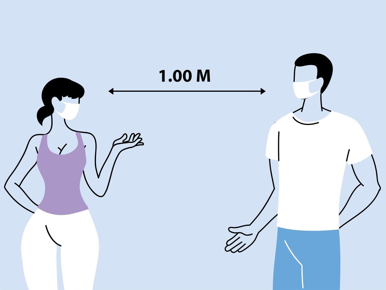 distanciamento social entre duas pessoas vetor