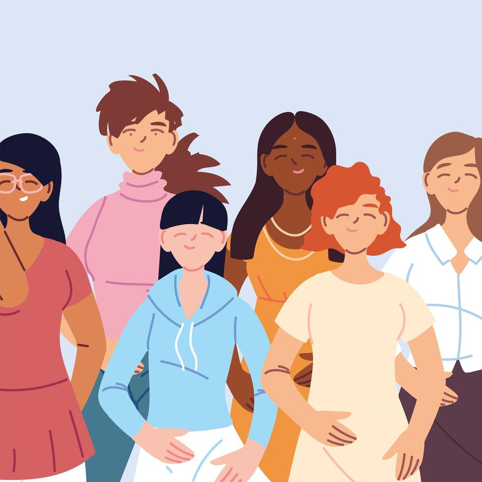 mulheres multiculturais em roupas casuais vetor