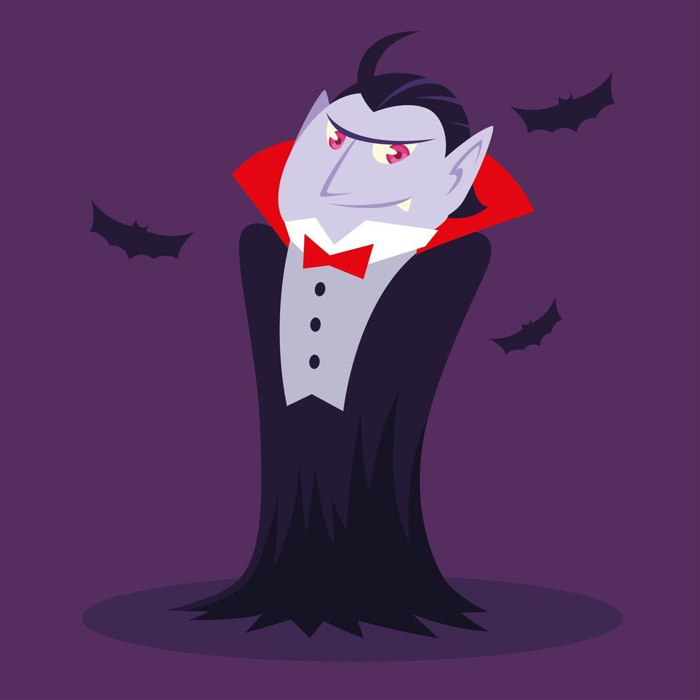 conde drácula ou vampiro para o dia das bruxas vetor