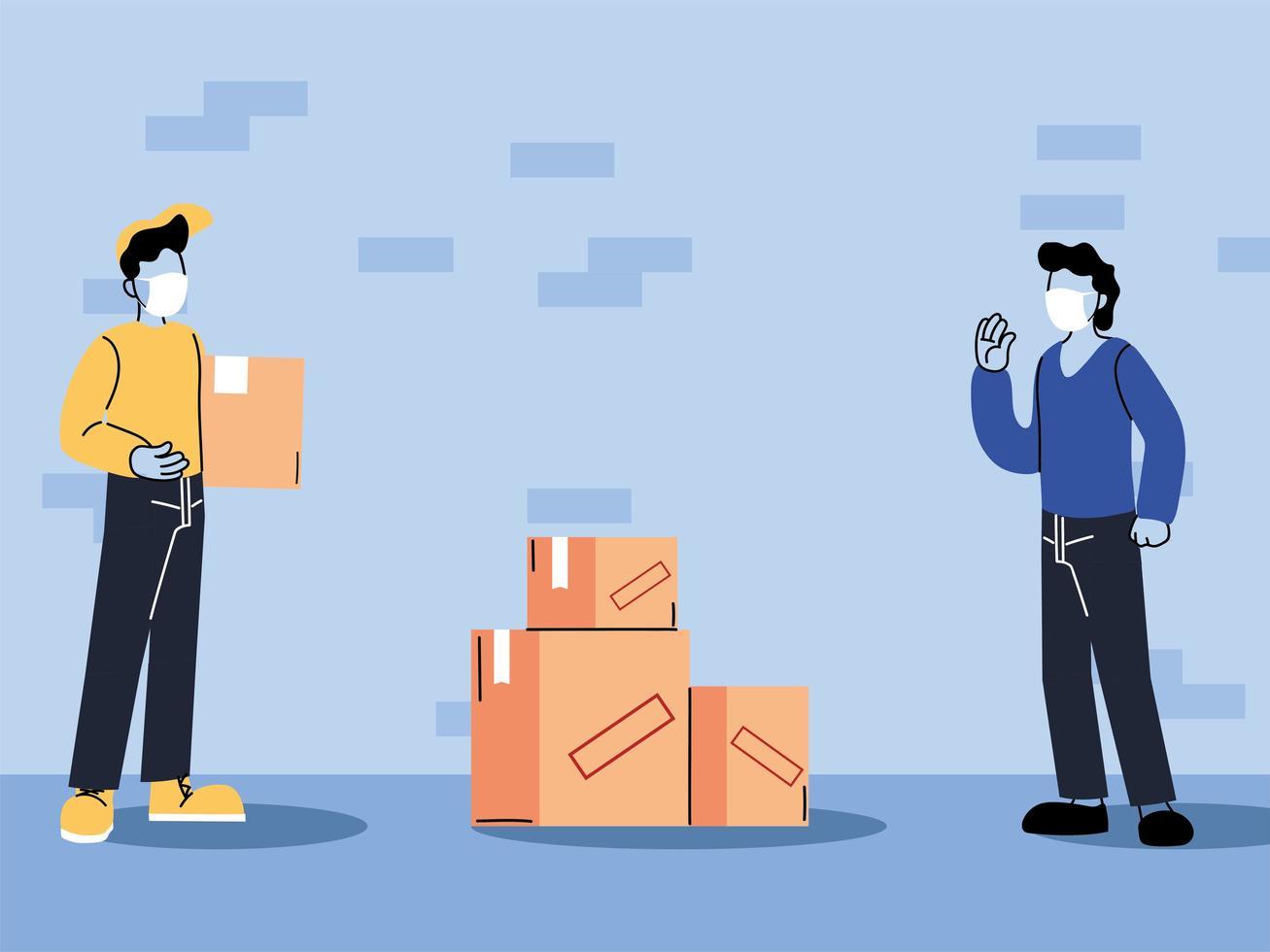 correio com distância segura para proteger de covid 19 vetor