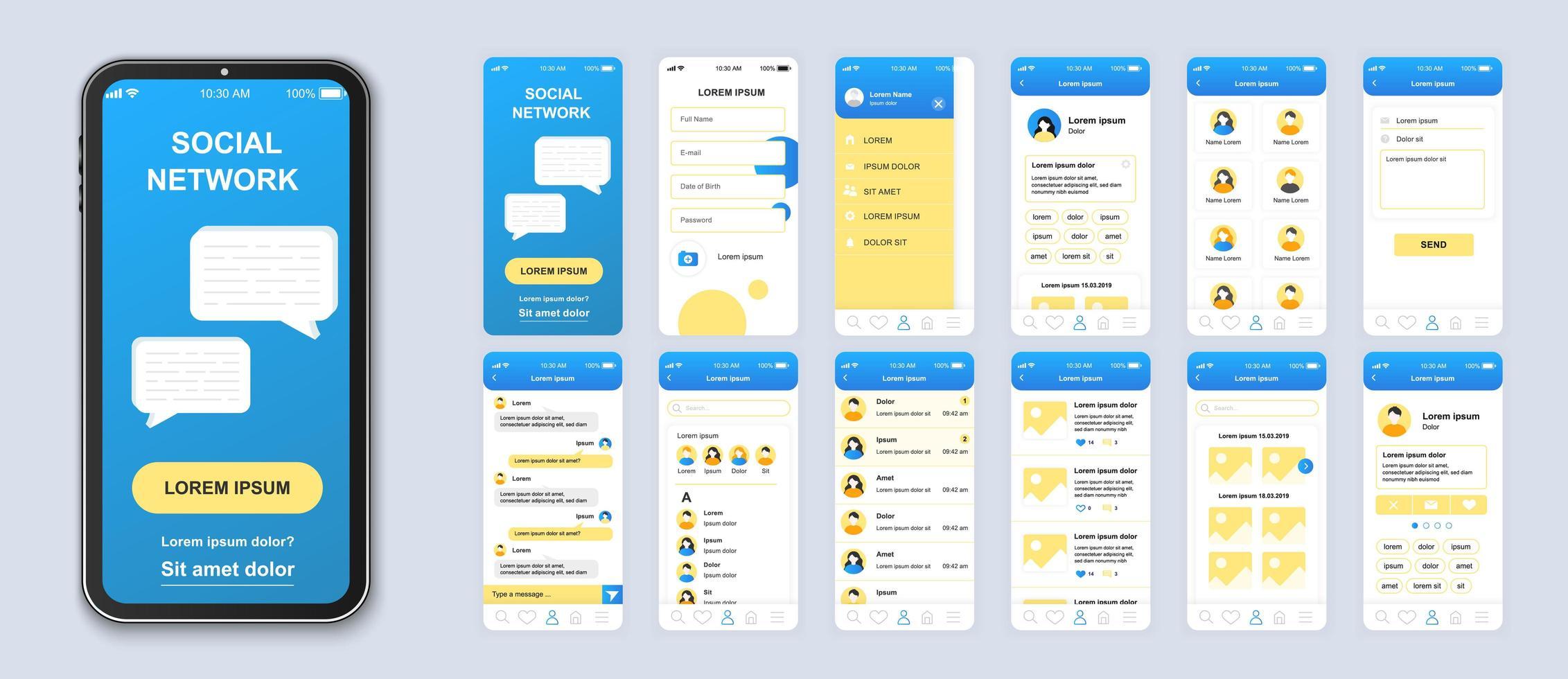 vetor interface do aplicativo móvel da interface do usuário da rede social azul e amarelo