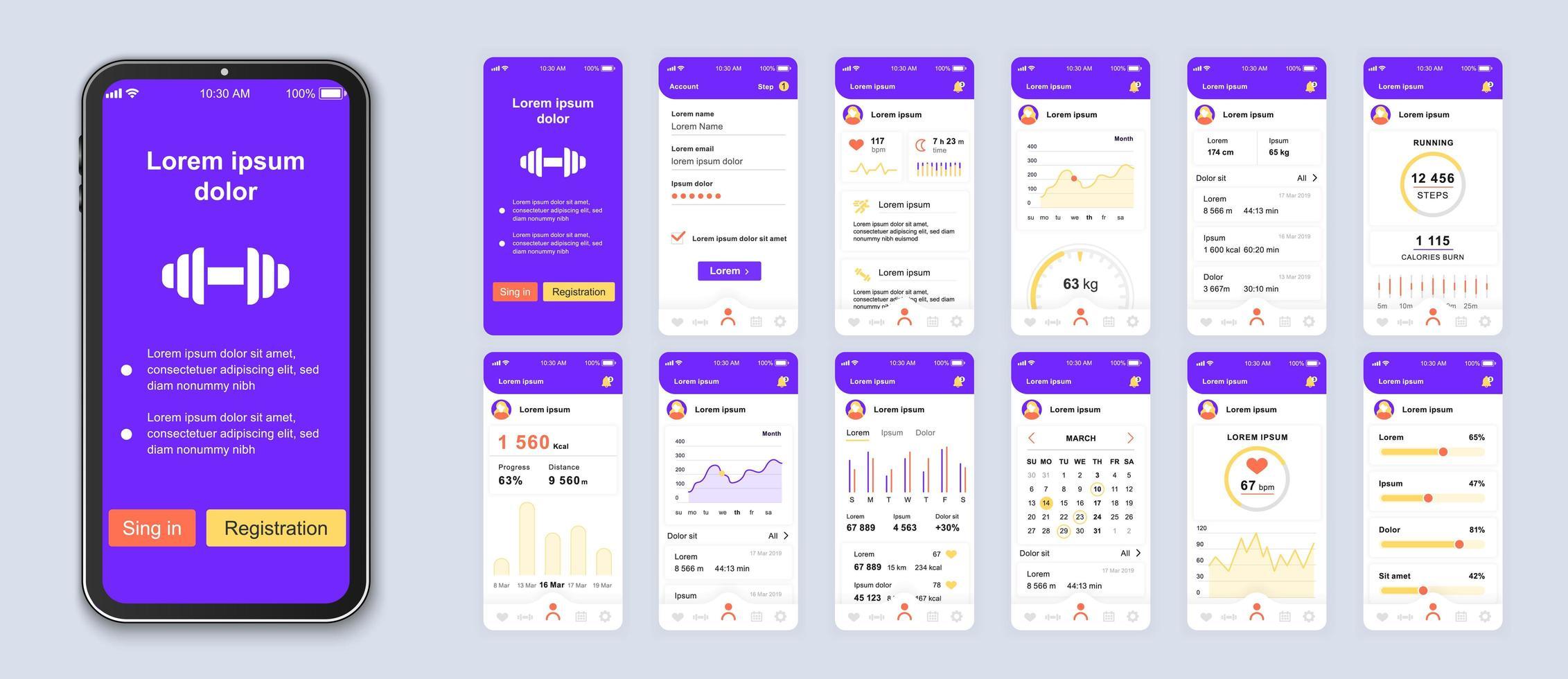design de interface do aplicativo para dispositivos móveis da interface do usuário de fitness roxo e branco vetor
