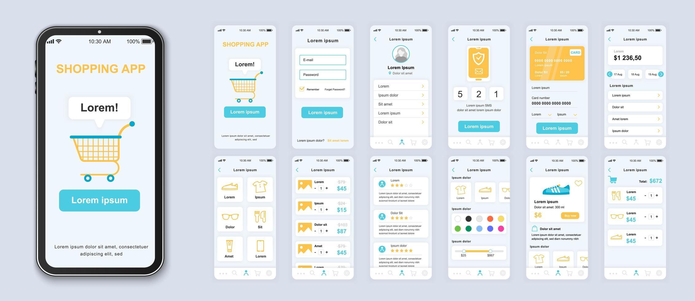 design de interface do aplicativo de interface do usuário de compras azul, amarelo e branco vetor