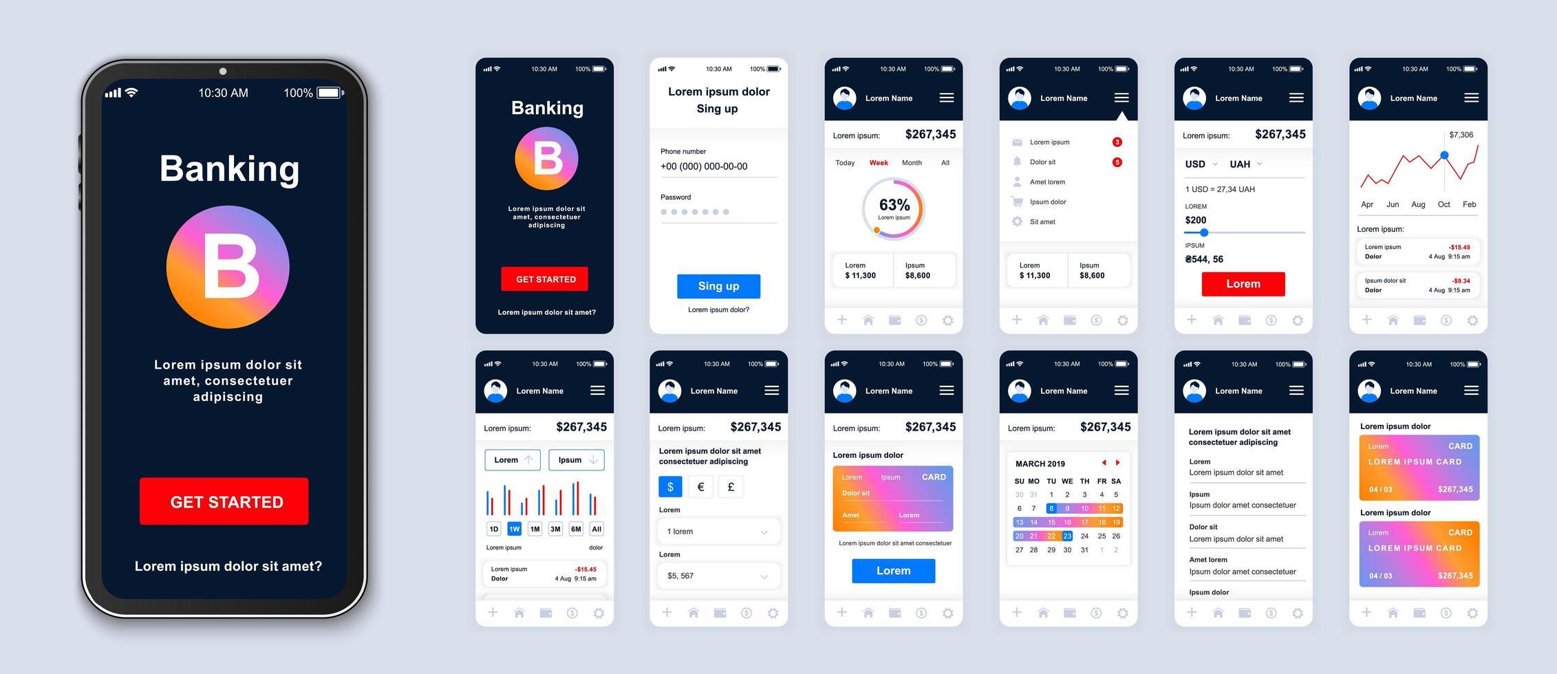interface de smartphone de interface do usuário de banco móvel gradiente colorido vetor