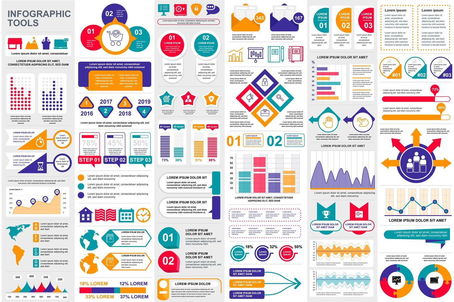 pacote de visualização de dados de elementos infográficos coloridos vetor