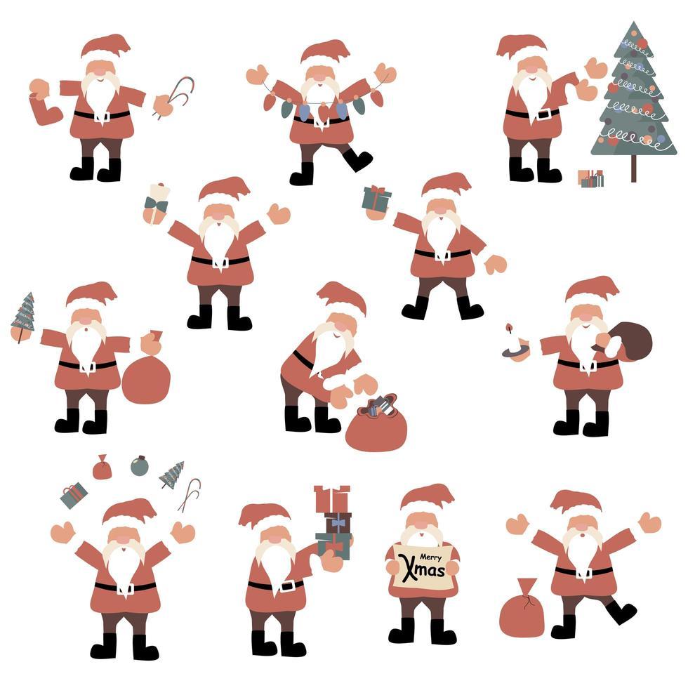 conjunto de personagens de desenhos animados do papai noel vetor