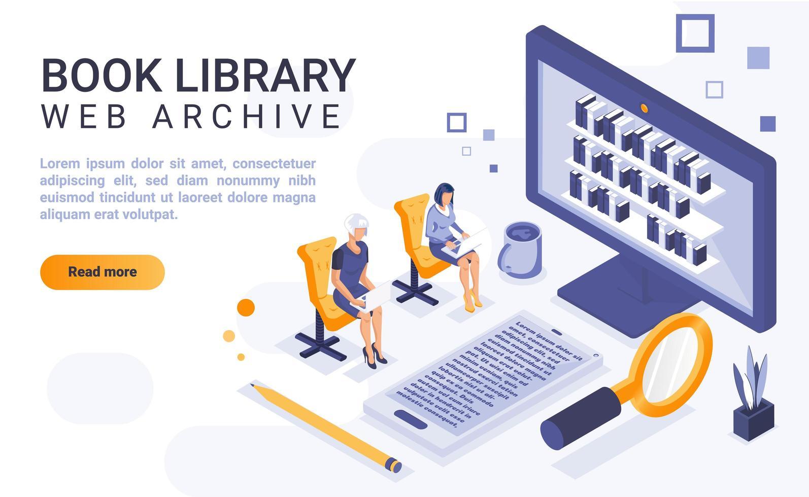 página de destino isométrica da biblioteca de livros vetor