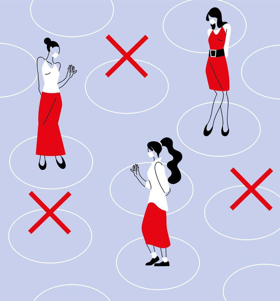 distanciamento social entre mulheres com máscaras vetor