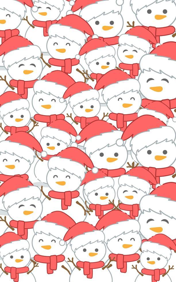 padrão de natal com boneco de neve vetor