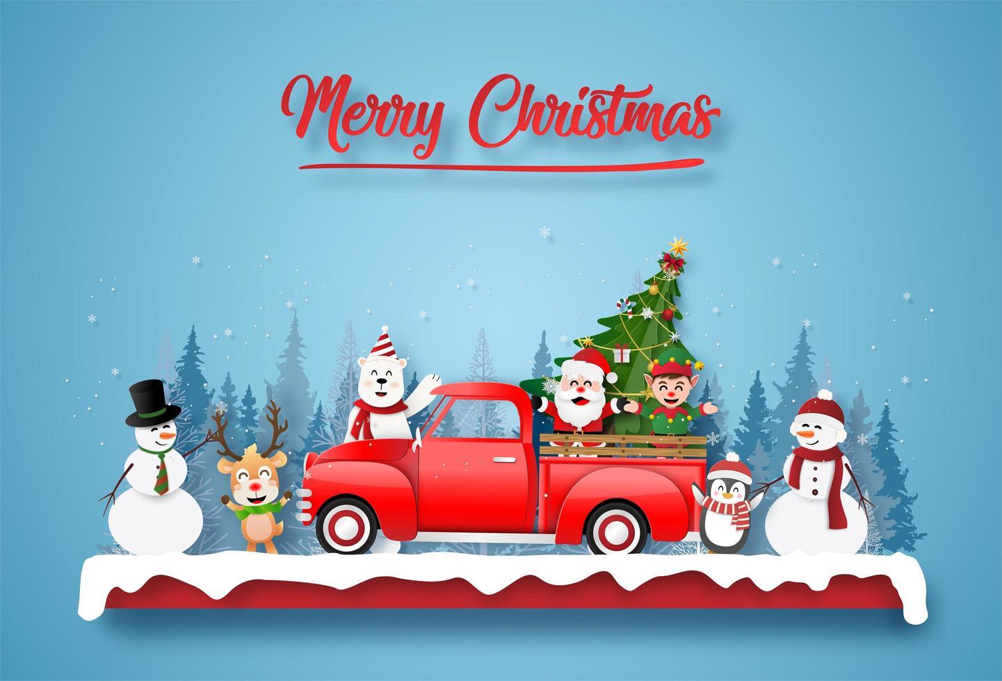 postal de natal com papai noel e amigos em um caminhão vetor
