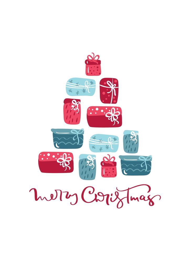 mão desenhada letras de feliz natal e árvore de presente vetor