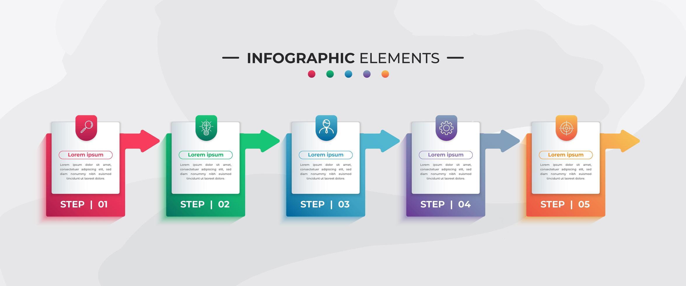 etiqueta colorida e elementos de infográfico de seta para negócios vetor