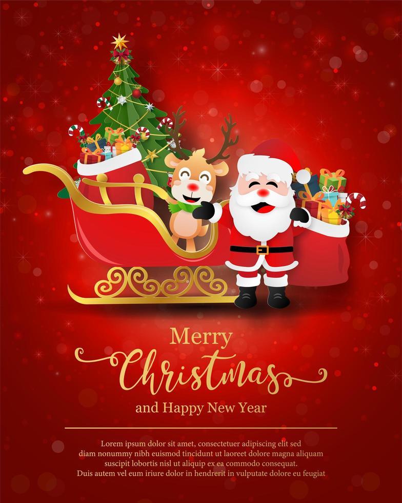 modelo de pôster de natal com personagens festivos vetor