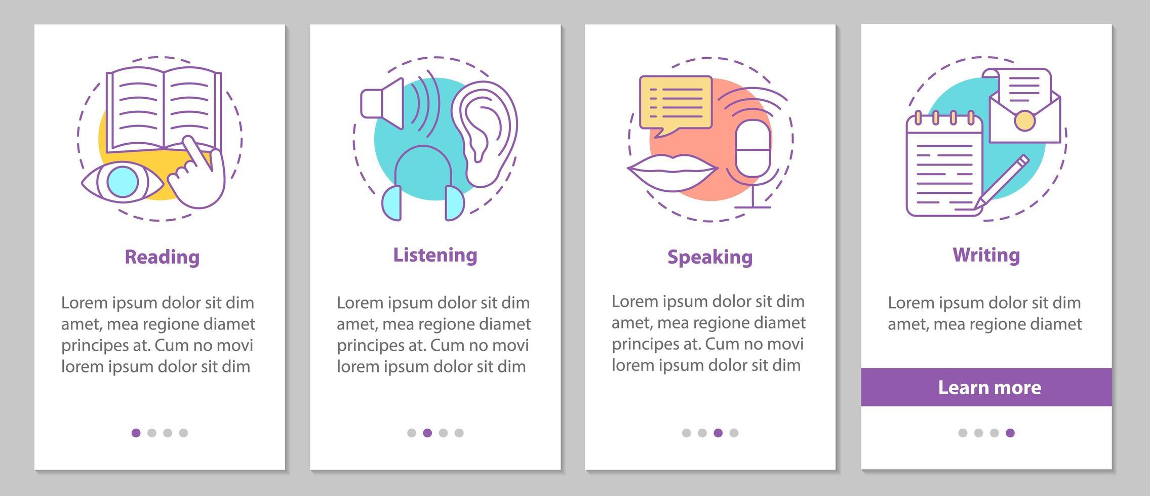 Telas de integração de habilidades básicas de idioma vetor