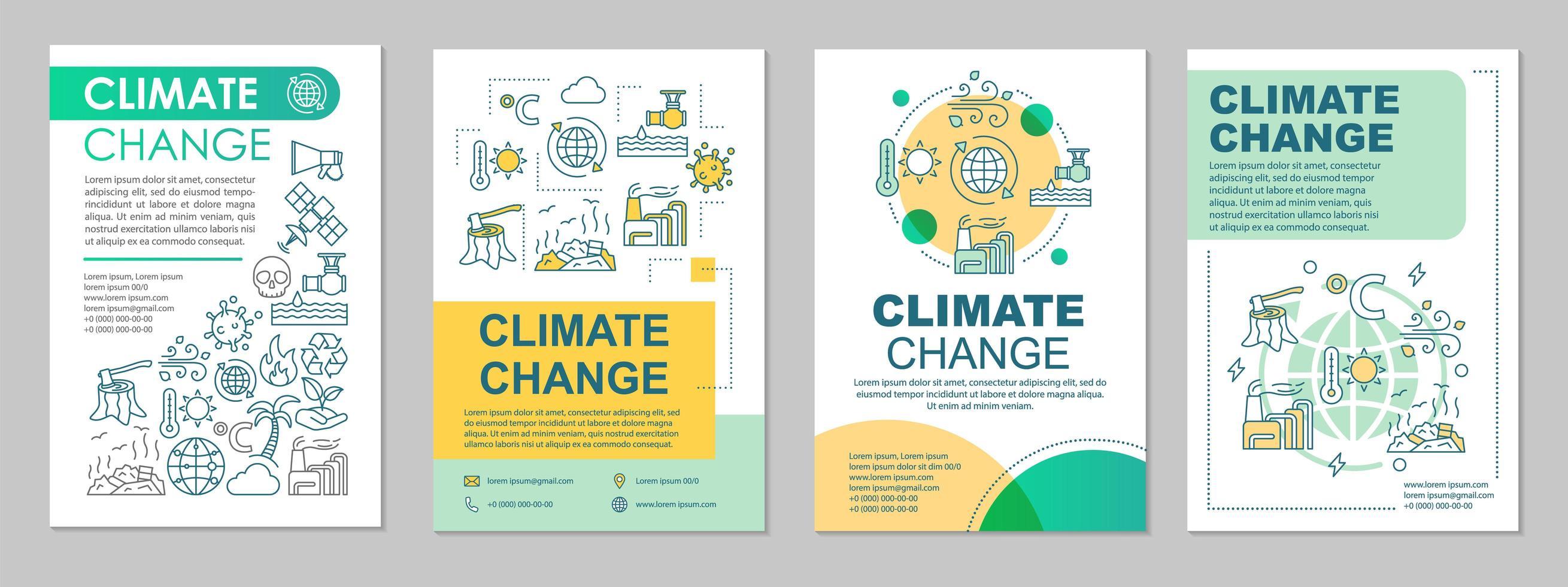 layout do modelo do folheto sobre mudanças climáticas vetor